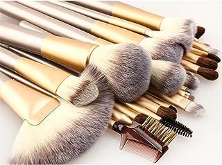 Makeup Brush Set 18pcs Professional Wood Handle Premium Synthetic Kabuki Foundation Blending Blush Concealer Eye Face Liquid Powder Cream Cosmetics Lip Brush Tool Brushes with Bag