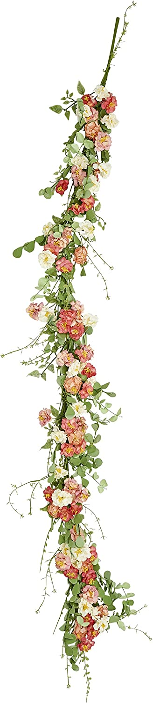 Worth Imports 5' Pastel Flower Garland Pink,White,Green
