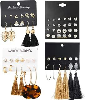 23-44 Pairs Assorted Multiple Stud Hoop Dangle Earrings Set Women Girls Acrylic Round Ball CZ Bohemian Long Tassel Drop Earrings Pack
