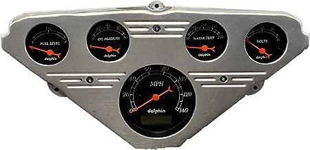Dolphin Gauges 1955 1956 1957 1958 1959 Chevy Truck 5 Gauge Dash Cluster Panel Set Programmable Black