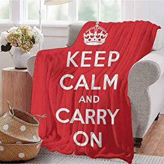 SONGDAYONE Throw Blanket Keep Calm Daily use Red and White Composition with Keep Calm and Carry On Text and a Royal UK Crown W60 x L80 Red White