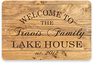 Pattern Pop Personalized Rustic Wood Plank Welcome to The Family Lake House Metal Room Sign