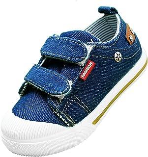 MERFUNTO Kid's Hook and Loop Sneakers Toddler/Little Kids Dual Velcro Denim Canvas Shoes Baby Footwear
