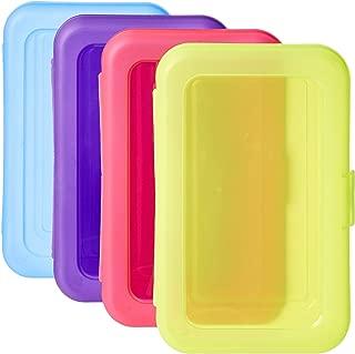 AmazonBasics Pencil Box - Pack of 4, Multi-Color