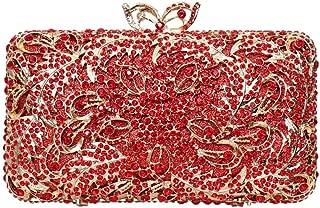 Fashion Ms. Big Red Hibiscus Wedding Bag Atmospheric Rhinestone Banquet Chain Bag Clutch Bag (Color : Red)