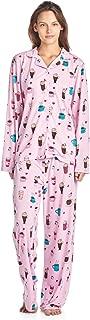 BedHead Pajamas BHPJ by Women's Brushed Back Soft Knit Pajama Set - Lt. Pink Lattes and Shakes - Large