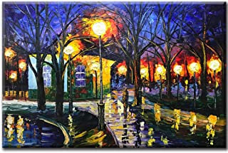 Asdam Art Canvas Painting,24x36 Inch Hand Painted Oil Paintings on Canvas Art Landscape Artwork Abstract Colorful Wall Painting Night Rainy Street Wall Art livingroom Bedroom Dinning Room Decorative P