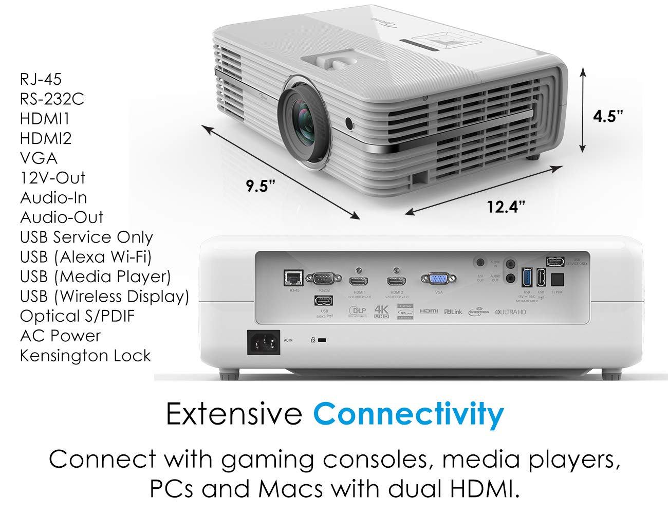 Optoma UHD52ALV Voice Assistant-Compatible DLP Projector