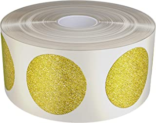 Royal Green Gold Glitter Sparkle Circle Stickers 19mm Diameter on Roll - Envelope Seals - 3/4 (0.75) inch 1.9cm Sparkle Adhesive- 430 Pack