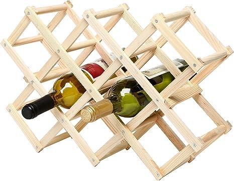 Foldable Wooden Wine Cellar Racks Countertop Wine Holder Storage Rack 10 Bottles