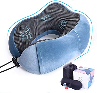 haxTON Neck Pillow,360°Support Travel Pillows for Airplanes,Lightweight & Portable,Memory Foam Car Neck Pillow Travel Kit with Luxury Package (3D Eye Mask,Earplugs and Storage Bag) (Blue)