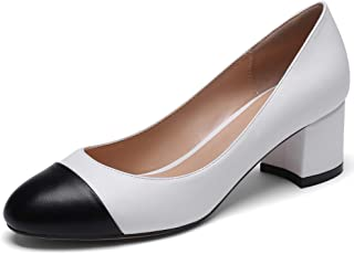 Eldof Round Cap Toe Pumps,Classy 2 Inches Block Heel Chic Pumps, Slip on Comfortable Chunky Heel for Office Wedding Dress