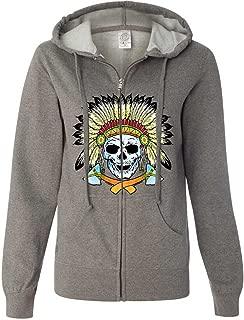 Native American Indian Skeleton Tomahawk Chief Ladies Zip-Up Hoodie