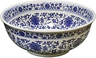 ChinaFurnitureOnline Porcelain Basin Bowl with Blue and White Chinoiserie Design