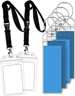 GreatShield Luggage Tag Holders and Resealable Cruise ID Badge Holders with Lanyard, Weatherproof Zip Seal & Steel Loops for Royal Caribbean and Celebrity Cruise (4 Pack Luggage Tag Holders / 2 Pack ID Badge Holders)