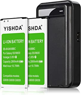 Galaxy S5 Battery, YISHDA 2x2800mAh Replacement Batteries Compatible with Samsung Galaxy S5 with S5 Battery Charger Compatible Galaxy S5 Active I9600 G900F G900V G900T   Samsung S5 Spare Battery