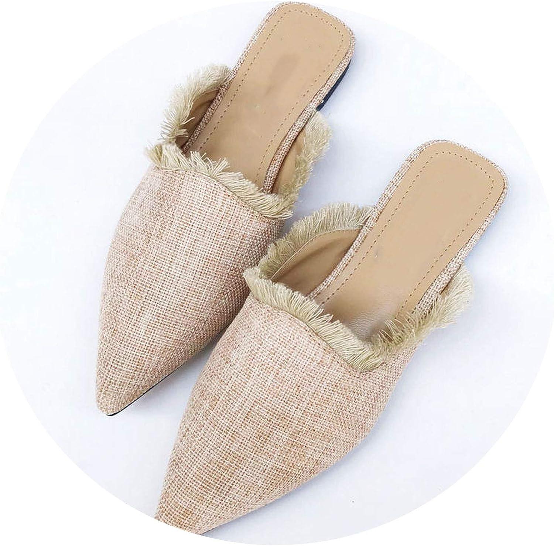 Monicas-house New Women Slippers Hemp Weave Pointed Toe Flat Tassel Mules shoes Woman Summer Slides Flip Flop