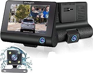 ドライブレコーダー 前後カメラ 車載カメラ1080PフルHD 【 3カメラ搭載】4.0インチ大画面車内外同時録画170度広角レンズ24時間駐車監視ループ録画 Gセンサー 常時録画動き検知