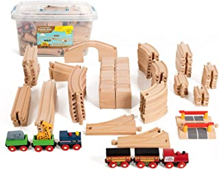 On Track USA Wooden Train Track 100 Piece Expansion Pack Set with Magnetic Engine Train Cars, and Zoo Train Compatible with Thomas, Brio, and All Major Brands, Comes in a Clear Storage Container