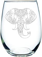 C M - Elephant 15 oz. stemless wine glass