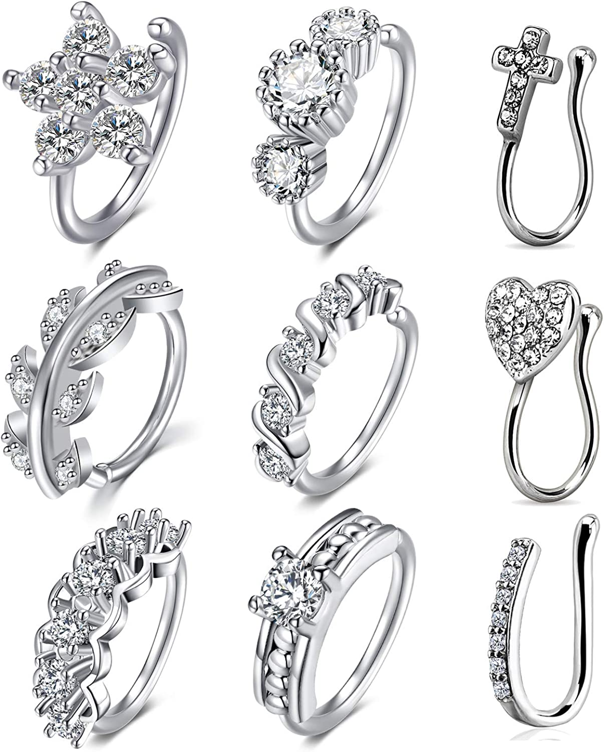 WillTen 18G Stainless Steel Fake Nose Rings Hoop Clip On Non-Piercing Nose Septum Ring Cartilage Tragus Ear Faux Piercing Body