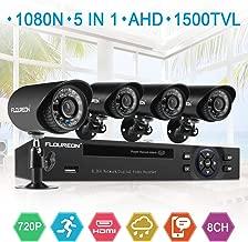 FLOUREON House Security Camera System 1080N DVR + 4 Pack 1.0MP CMOS Lens CCTV Security Camera 1500TVL Night Vision Remote Access Motion Detection (8CH+ 4X 1500TVL Camera)