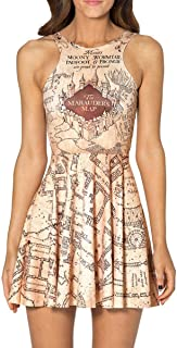 Women Marauders Map Print Knee-Length Pleated Skater Dress