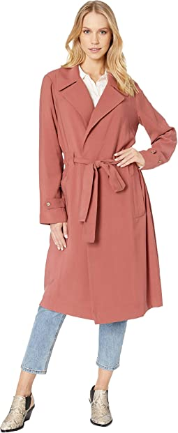 Soft Twill Tie Waist Trench Coat