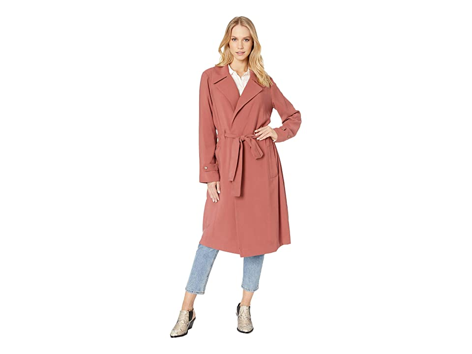 1.STATE Soft Twill Tie Waist Trench Coat (Terra Earth) Women