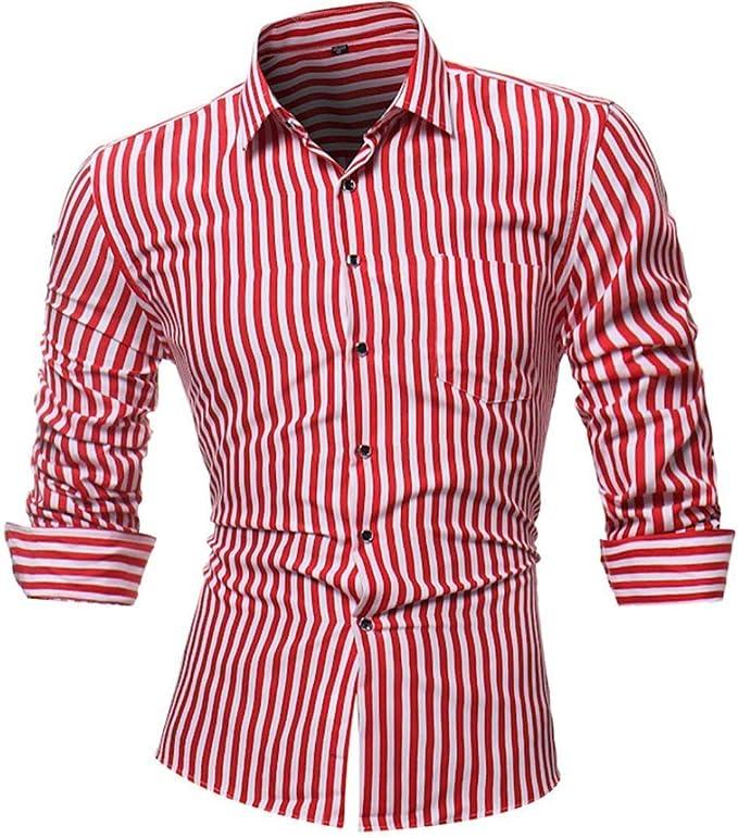 HhGold Camisa de Rayas Rojas para Hombre Top Casual Slim Fit ...