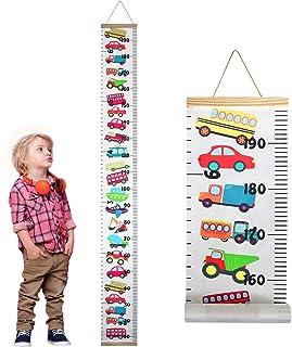 Familamb Kids Growth Chart Wall Ruler Wood Frame Fabric...