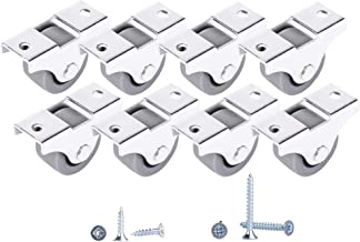 Lot de mini roulettes en caoutchouc souple avec plaque en métal et vis pour meubles - 30 mm