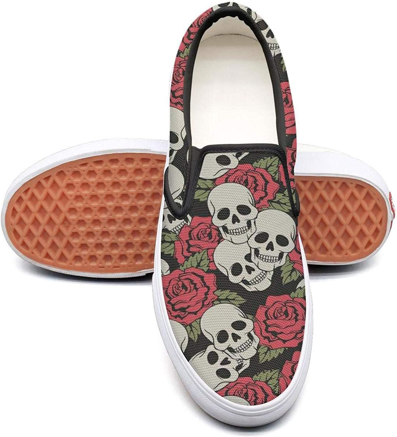 Vintage Skulls and pink Flower Slip On Canvas Upper Loafers Canvas shoes for Women Fashion