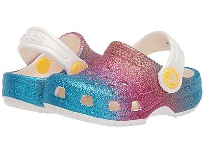 Crocs Kids Classic Ombre Glitter Clog (Toddler/Little Kid/Big Kid) (Oyster/Multi) Girl