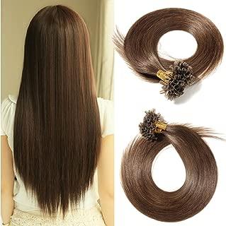U Tip Remy Virgin Human Hair Extension Medium Brown Pre Bonded Italian keratin Nail Tips 100 Strands 18 inch Superior Salon Quality (#4, 18''/50g)