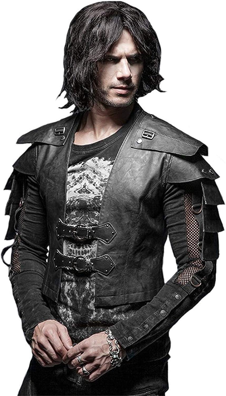 Punk Rave Steampunk Gothic Men Cool Armor Warrior Short Jacket Vintage Short Sleeve Leather Jacket Coats