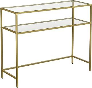 VASAGLE Table Console, Table d'entrée, Bout de canapé, Dessus de Table en Verre trempé, Cadre métallique, 2 Niveaux, Pieds...