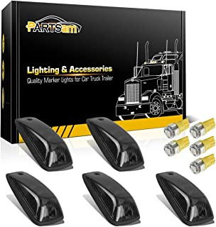 Partsam 5pcs Smoke Cab Maker 264159BK Roof Running Light Cover Base + 5X Amber T10 194 168 5050 LED Light Bulbs Compatible with Chevy/GMC C1500 C2500 C3500 K1500 K2500 K3500 1988-2002 Pickup Trucks