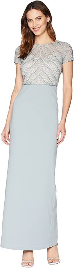 Short Sleeve Bead Bodice Gown with Solid Stretch Crepe Skirt