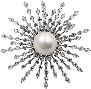 DREAMLANDSALES Sparkling Silver Domed Mother of Pearl Five Tiered CZ Burst Star Brooches Pins