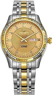 Men's 18k Gold Plated Stainless Steel Waterproof Automatic Wrist Watch Diamonds