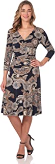 Women's Slimming 3/4 Sleeve Fit-and-Flare Crossover Tummy Control Dress