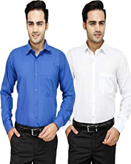Super Weston Plain Blue and White Casual Shirts For Men's Combo of 2