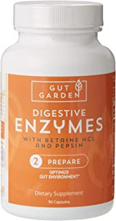 Gut Garden Digestive Enzymes with Betaine HCL and Pepsin for Better Digestion + Gas, Bloating, Constipation and Acid Relief, Gluten and Soy Free, 90 Capsules