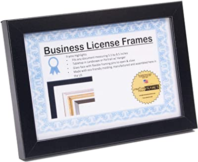 with Mat) Displays 3/×7.5 Inch with Mat Includes Attached Hanging Hardware and Desktop Easel 5/×10 Inch Without Mat(Two Pack Wide Molding ELSKER/&HOME Business License Frame Black Frame