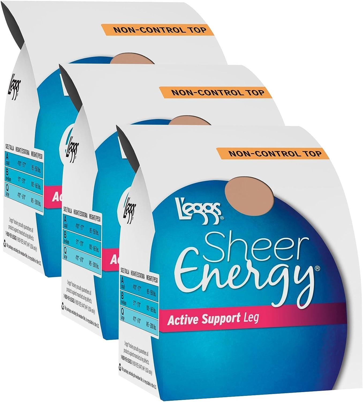 L'eggs Women`s Set of 3 L`eggs Sheer Energy Active Support Regular Panty ST