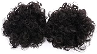 Miss Rola Donut Bun Afro Kinky Curly Kanekalon Synthetic Hair Short Ponytail Clip In Hair Extensions Natural Black Color Scrunchie Hairpieces(2 Small Pieces)