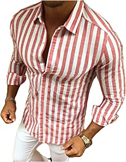Folima Men's Long Sleeve Slim Fit Casual Striped Contrast Button Down Dress Shirt