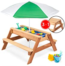 Best Choice Products Kids 3-in-1 Outdoor Wood Activity/Picnic Table w/ Umbrella and 2 Play Boxes