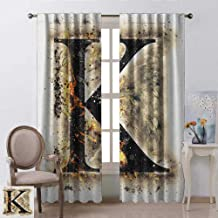 youpinnong Letter K, Blackout Curtains Kids, Smoked Letter K Alphabet in Blaze with Grunge Design Ignited Writing Symbol, Curtains Kitchen Window Set, W84 x L108 Inch, Tan Black Orange